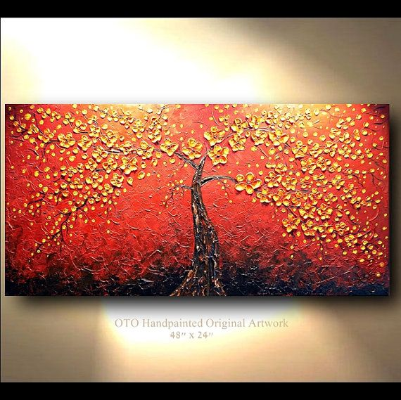 Red And Orange Painting Original Abstract Tree Painting Flower Red Orangetjenkinsarts .