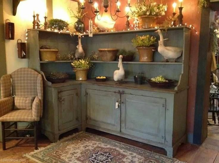Rustic Corner Cupboard Blue Home Vintage Country Style Antique Decorate Shabby Ideas Hutch Shelf