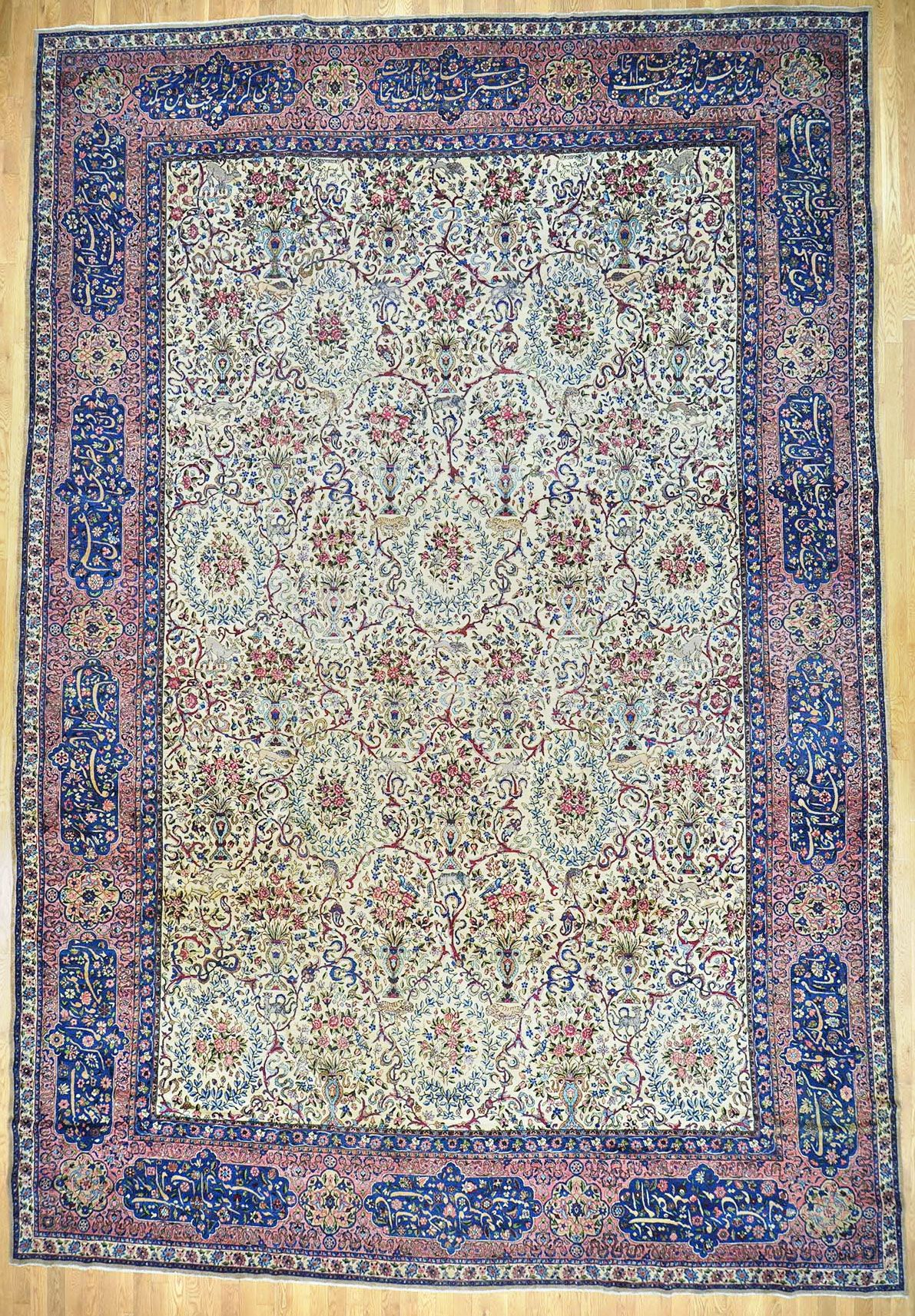 Antique Kerman Persian Rug Authentic Handmade 70 90