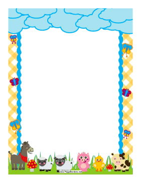 This Colorful Border Includes Barnyard Friends Against A