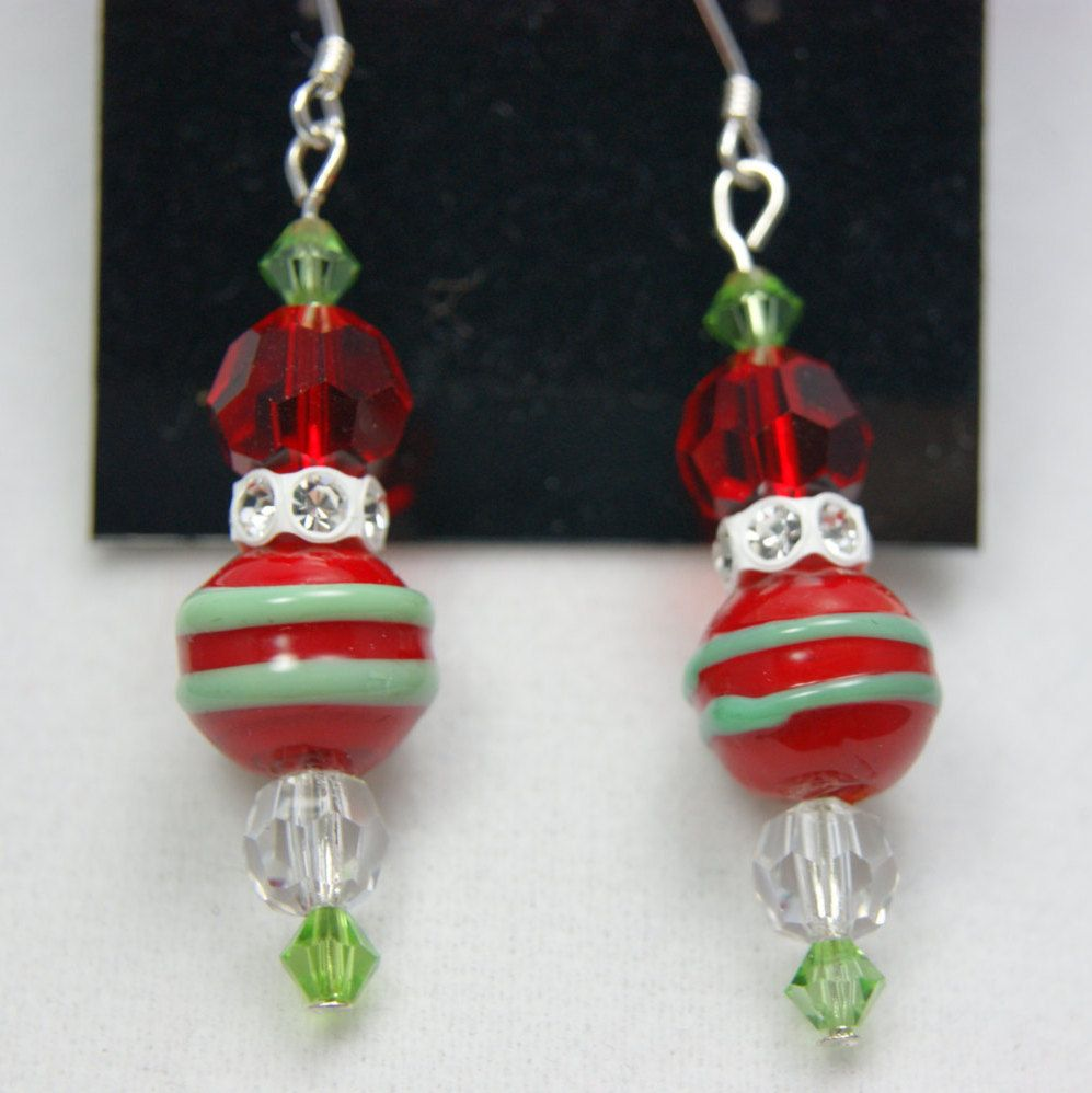 Red & Green Lampwork Christmas Earring-Red Bead with Green Stripes; Multi Color and Size Swarovski Crystals; Sterling Ear Hook; Unique; OOAK by UniqueBySueJewelry on Etsy Great gift