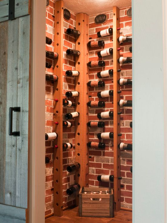 Elegant Wine Bottle Holder For Inspirations: Marvellous Wine Bottle Holder With  Drilling Large Holes Into Cedar 2 By 4 Beams From Floor To Ceiling With  Brick Wall ...