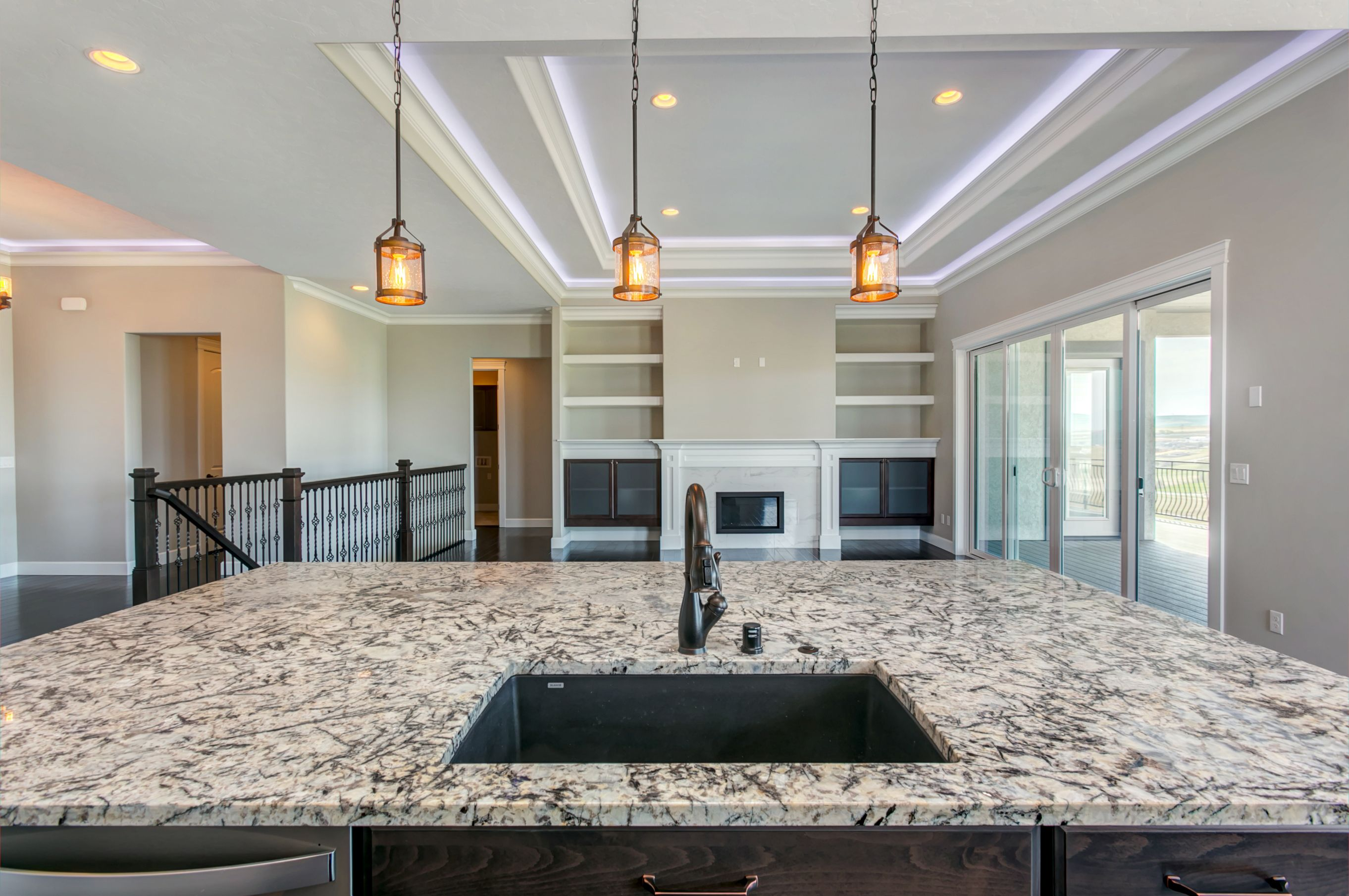 Ice Pearl Granite Pairs Well With Oil Rubbed Bronze For A