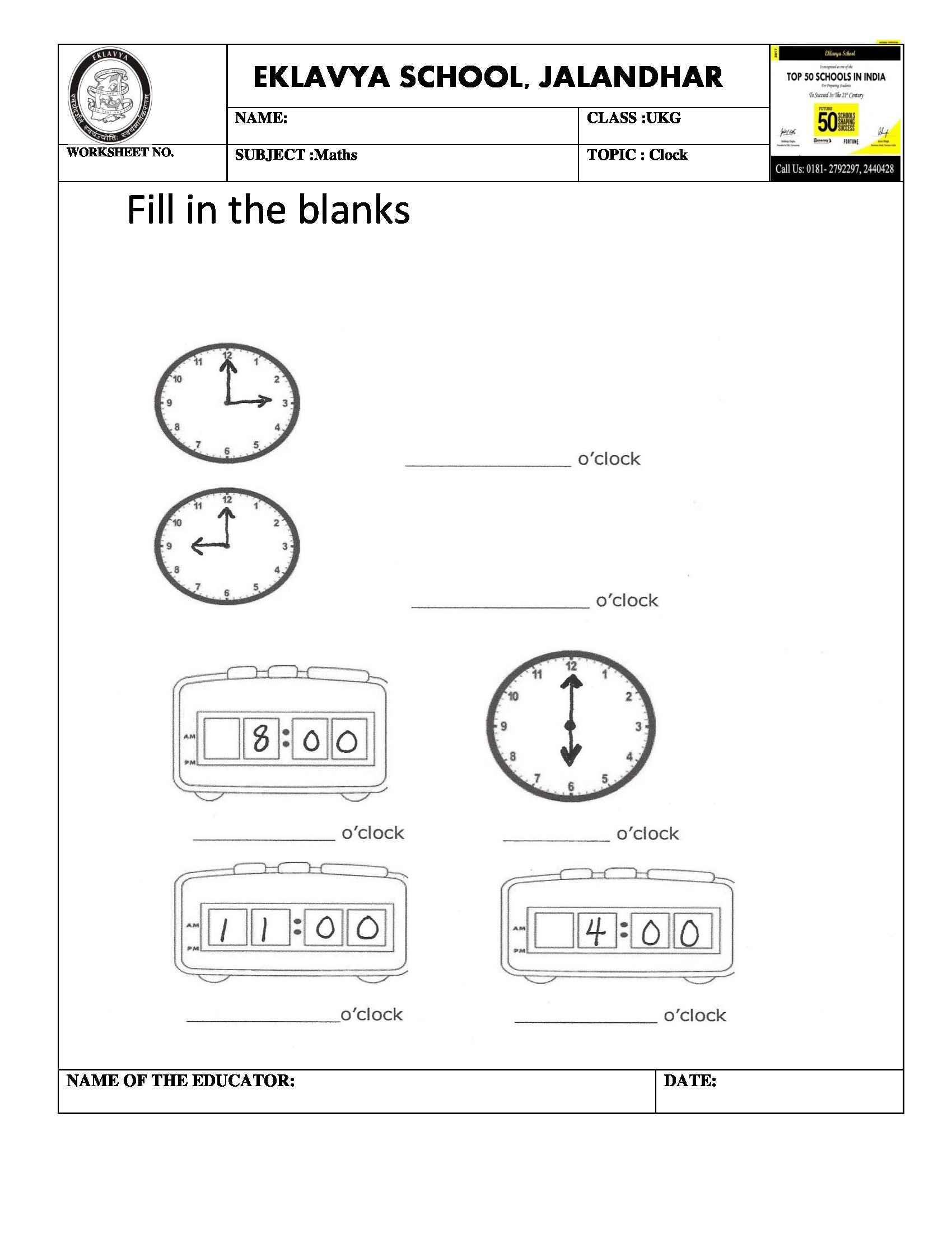 Worksheet On Clock