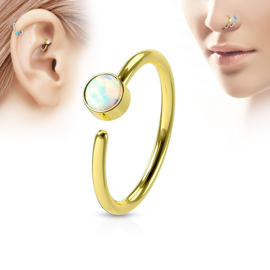 Without piercing nose ring  Gold Hoop Ring White Opal Nose  Ear Piercing Rings  Piercing ring