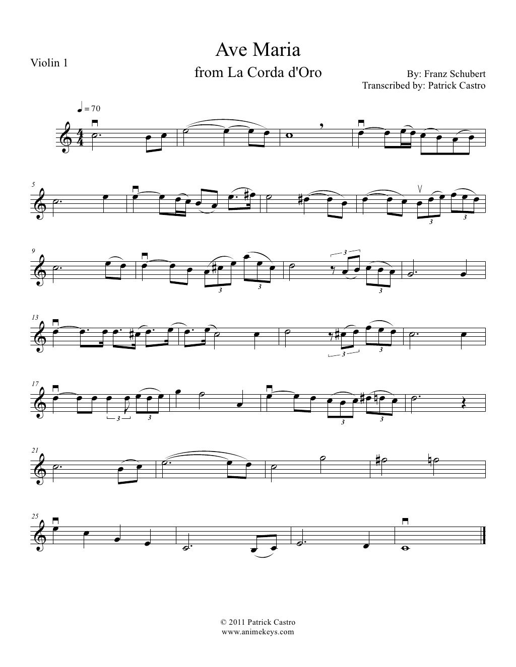 1st violin sheet music for Ave Maria from La Corda D\'oro~Primo Passo ...