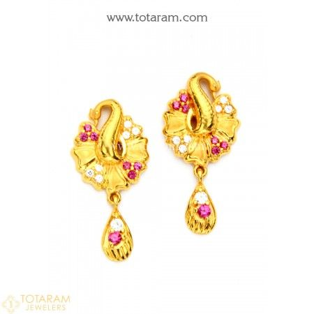6e0df9bdb75741 22K Gold 'Peacock' Earrings for Women with Cz & Color Stones - 235-GER7735  - Buy this Latest Indian Gold Jewelry Design in 5.500 Grams for a low price  of ...