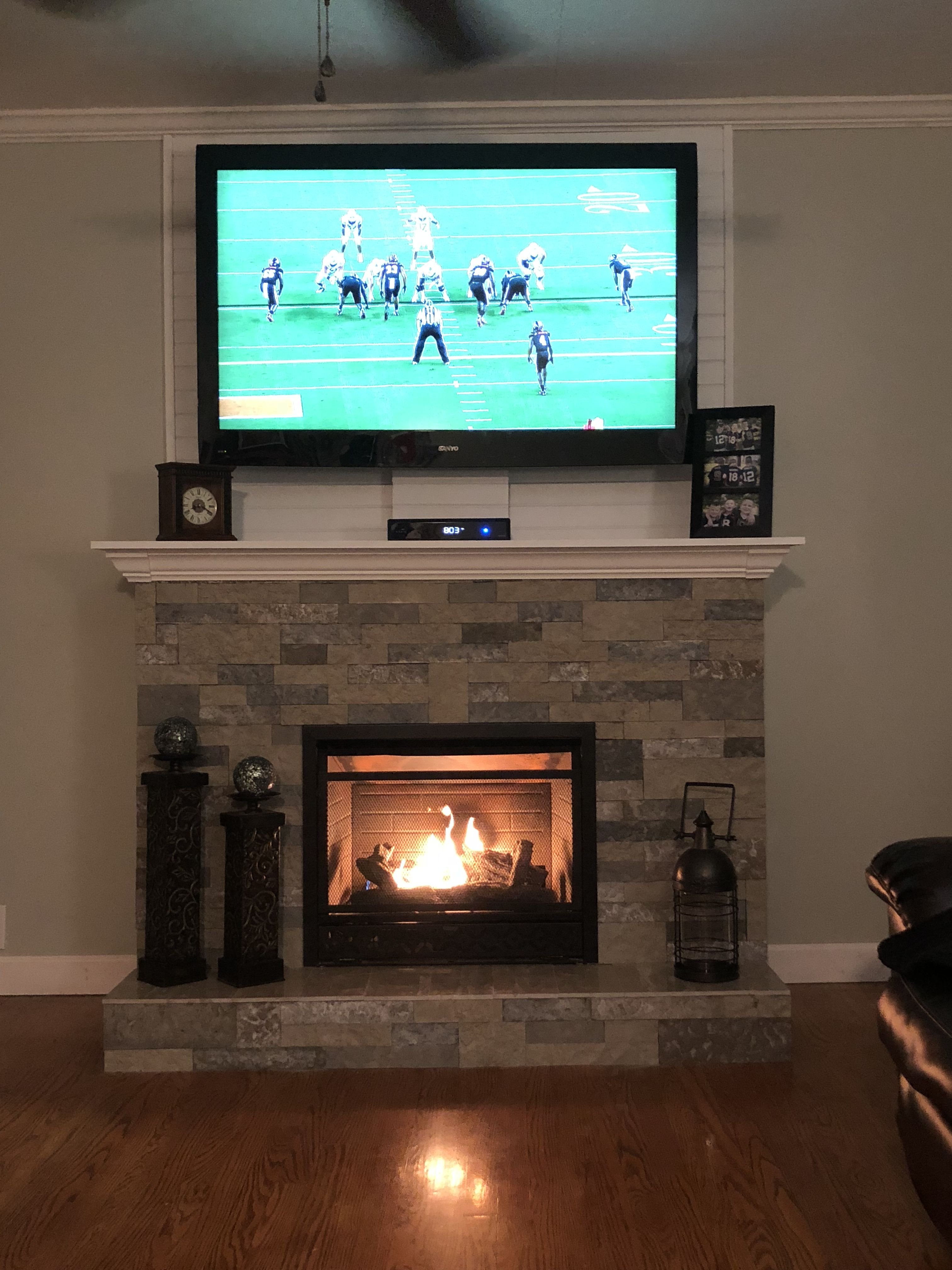 Fireplace With Shiplap Behind Tv Fireplace Mantle Decor