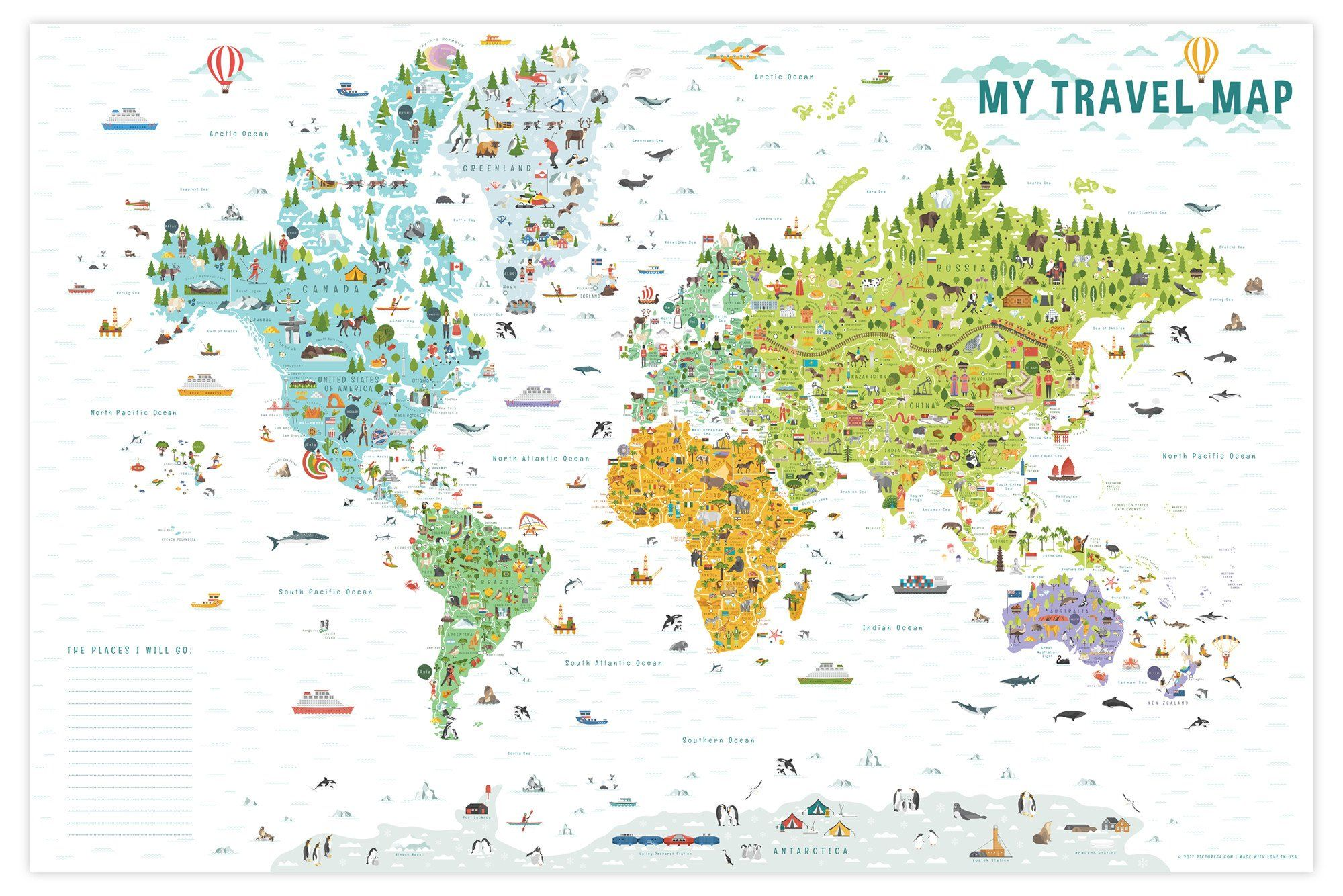 World Map with Countries | Kids Room Decor | Interactive ...
