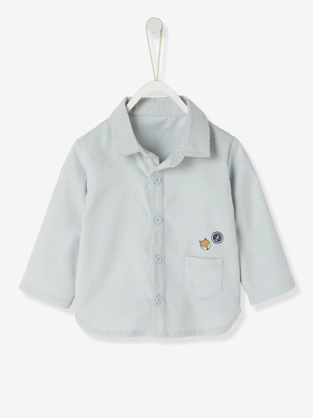 2d956d0e345e4 Chemise bébé garçon en velours milleraies gris clair - Toute la chaleur du  velours pour passer
