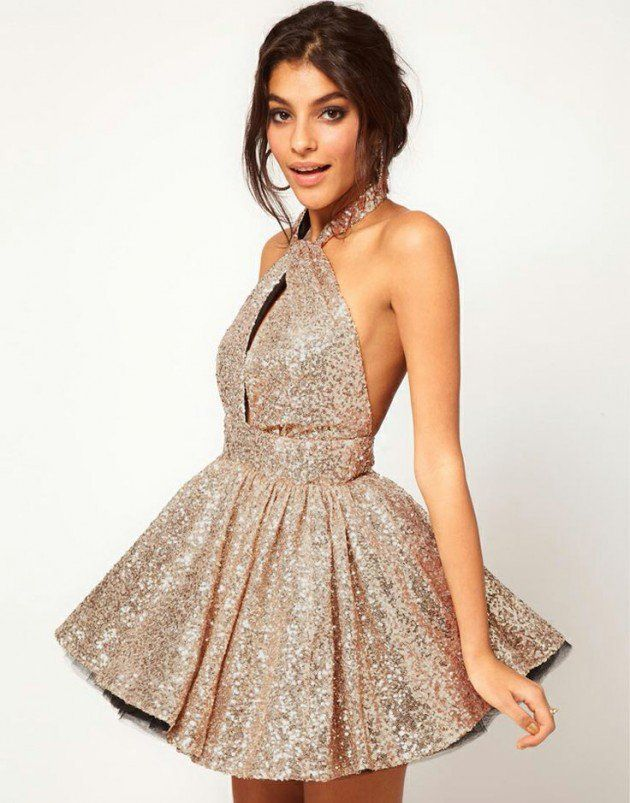 Homecoming Dress,Sexy Gold Halter Neck Backless Sequin Homecoming ...