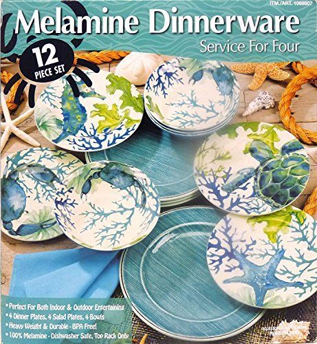 Melamine Dinnerware Sets Coastal Cottage Aquamarines Salad Plates Outdoor Entertaining Dinner Plates Spice Bowls Indoor  sc 1 st  Pinterest & Pin by Amanda Coughlin on Tiki Bar | Pinterest | Melamine dinnerware ...