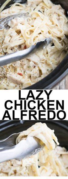 Slow Cooker Easy Chicken Alfredo #crockpotmeals