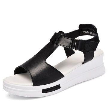 High-quality Leather Color Match Buckle Peep Toe Hook Loop Slip On Platform Gladiator Sandals - NewChic Mobile.