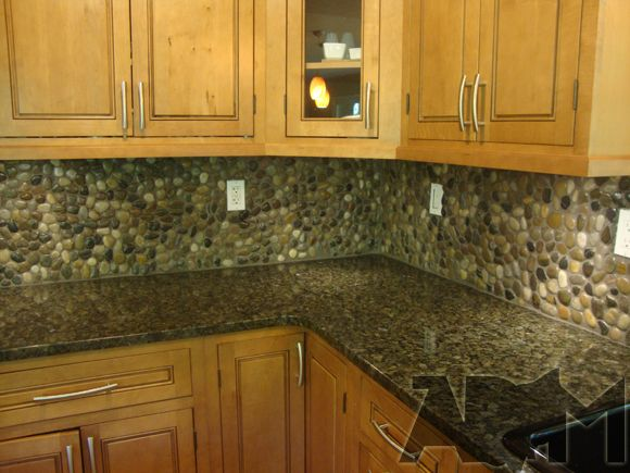 River Pebble Tile Kitchen Backsplash A Diy Project Anyone Can Do