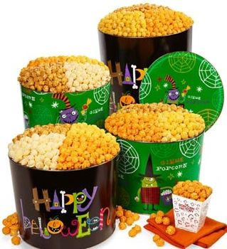 Happy Halloween / Halloween Party Popcorn Tins - 6-1/2 Gallon Happy Halloween 3-Flavor Popcorn@Catalog Spree- from The Popcorn Factory Halloween 2012 catalog