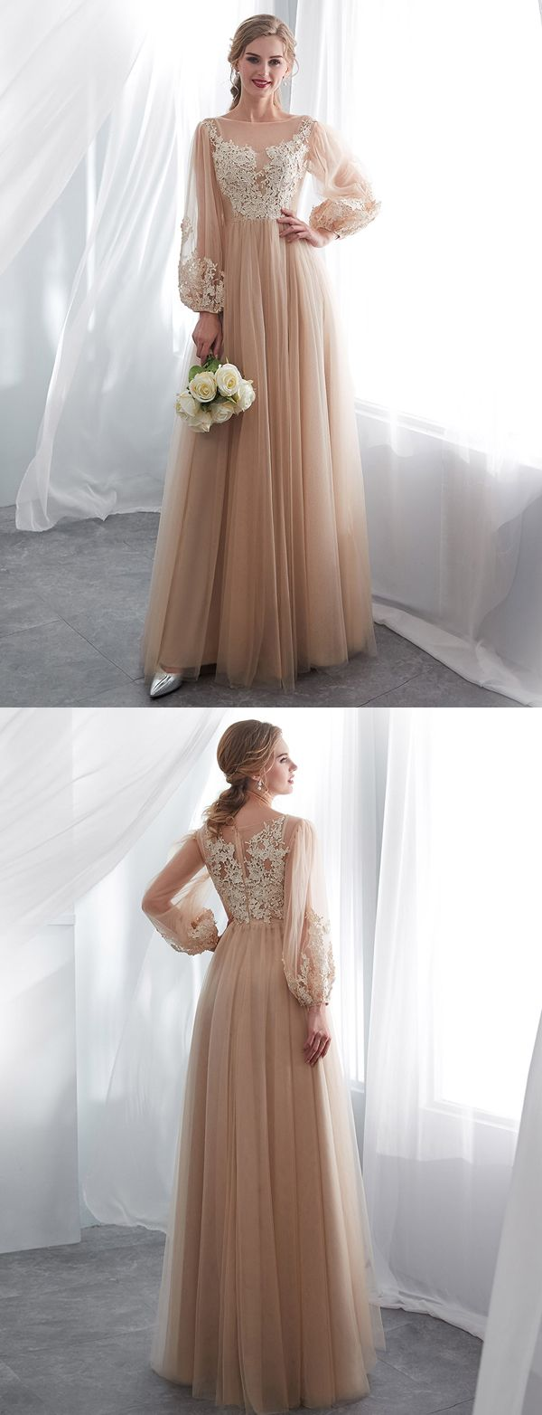 Gorgeous a line bateau long sleeves champagne long prom evening