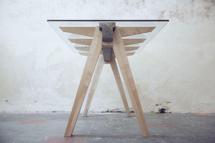 Beam desk le bureau bois béton verre studio temper tables