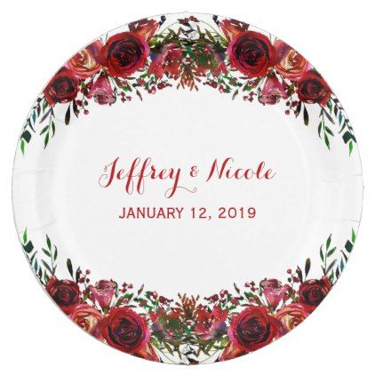 Rustic Red Floral Flowers Elegant Winter Wedding Paper Plate ...