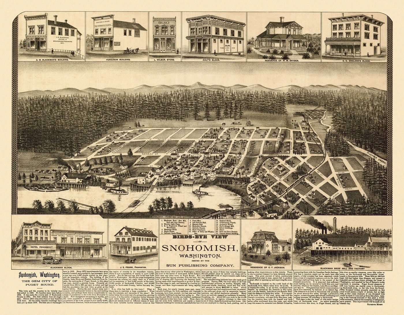 Denver CO 1889 Historic Panoramic Town Map 16x24