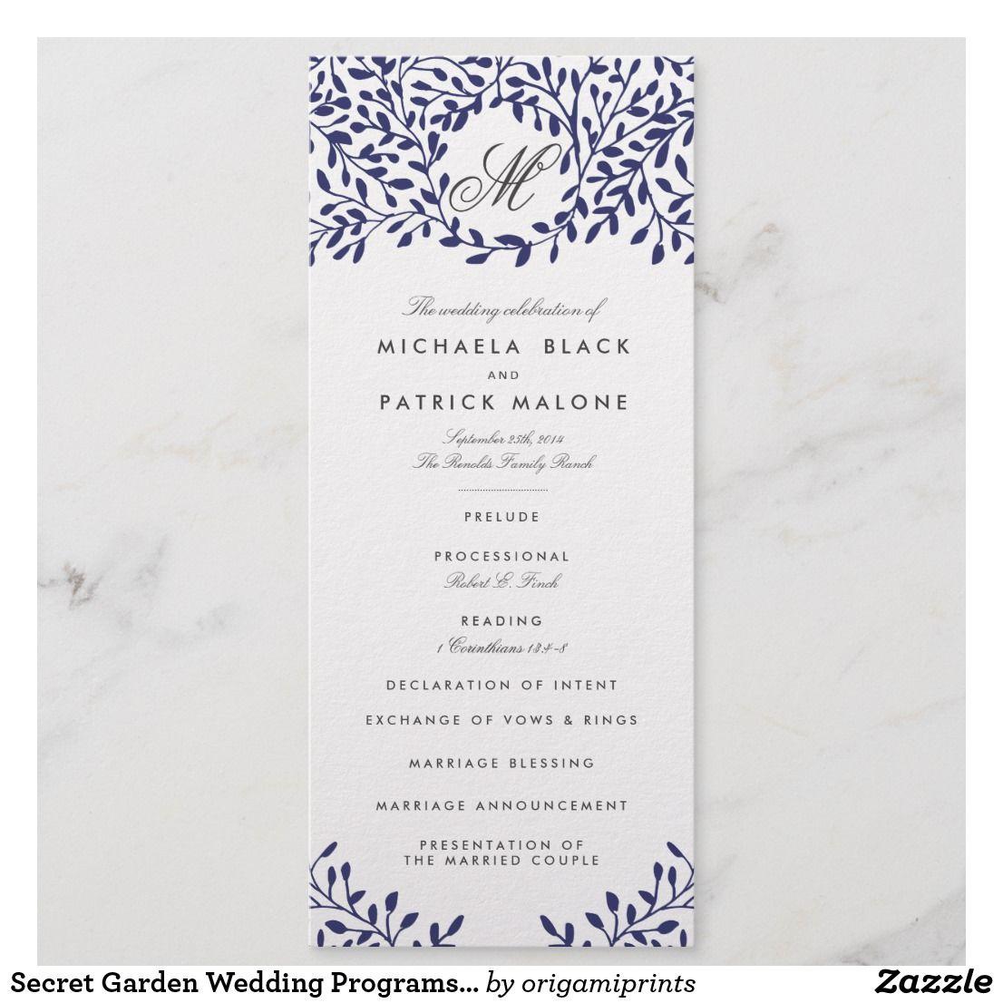 Secret Garden Wedding Programs Navy: Navy Garden Wedding Invitations At Reisefeber.org