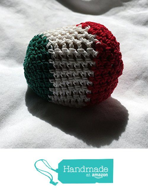 Green White and Red Striped Hand Crocheted Footbag Sack 7x7 Inches from Southern…