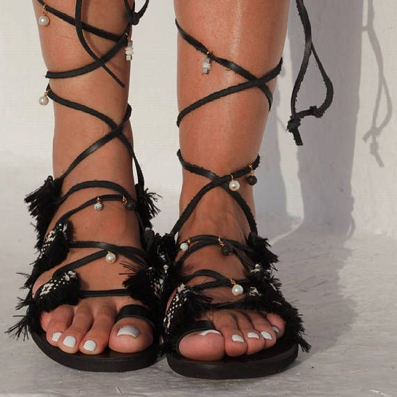 70cfcdea1fa43 Handmade to order sandals Black Star Black gladiator sandals
