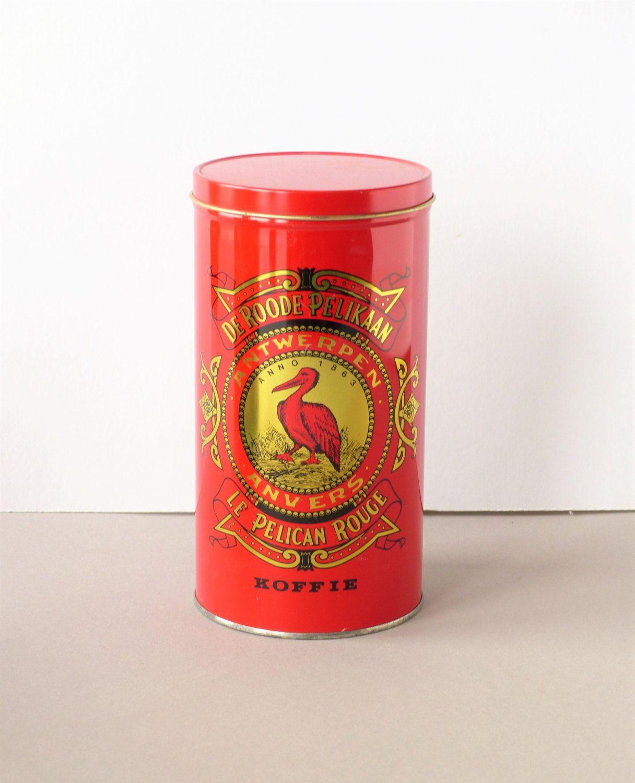 Vintage blik, koffieblik, De Roode Pelikaan Antwerpen / Anvers, decoratief display, rood, café / koffie, Le Pelican Rouge by PrettyandPreloved on Etsy