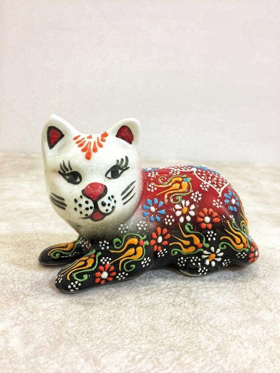 Ceramic Cat Ornament,Cat Miniature,Cat Sculpture,Sitting Cat Figurine,Kitten Ornament,Small Ceramic