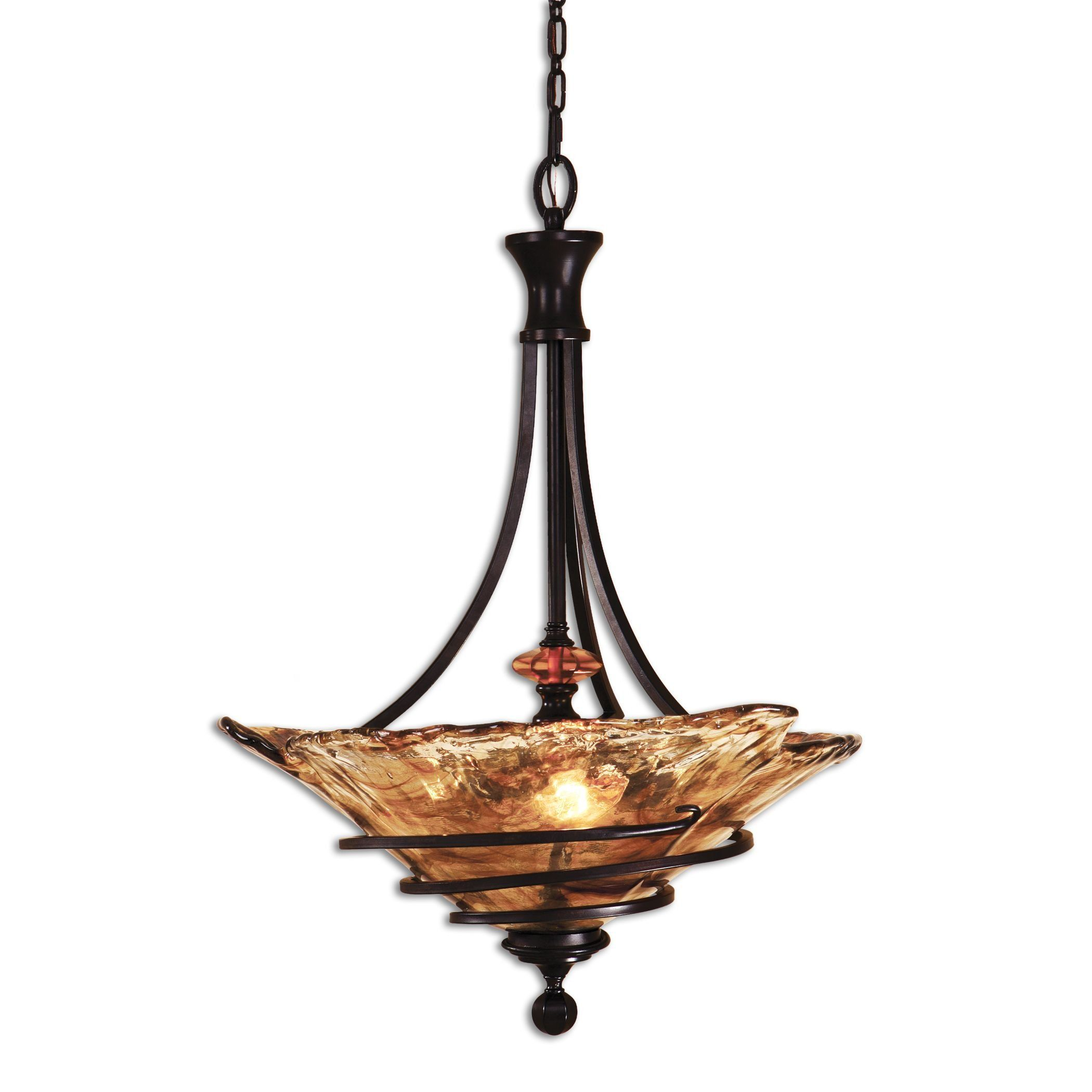22 Wrought Iron And Art Glass Amber Pendant Chandelier 3