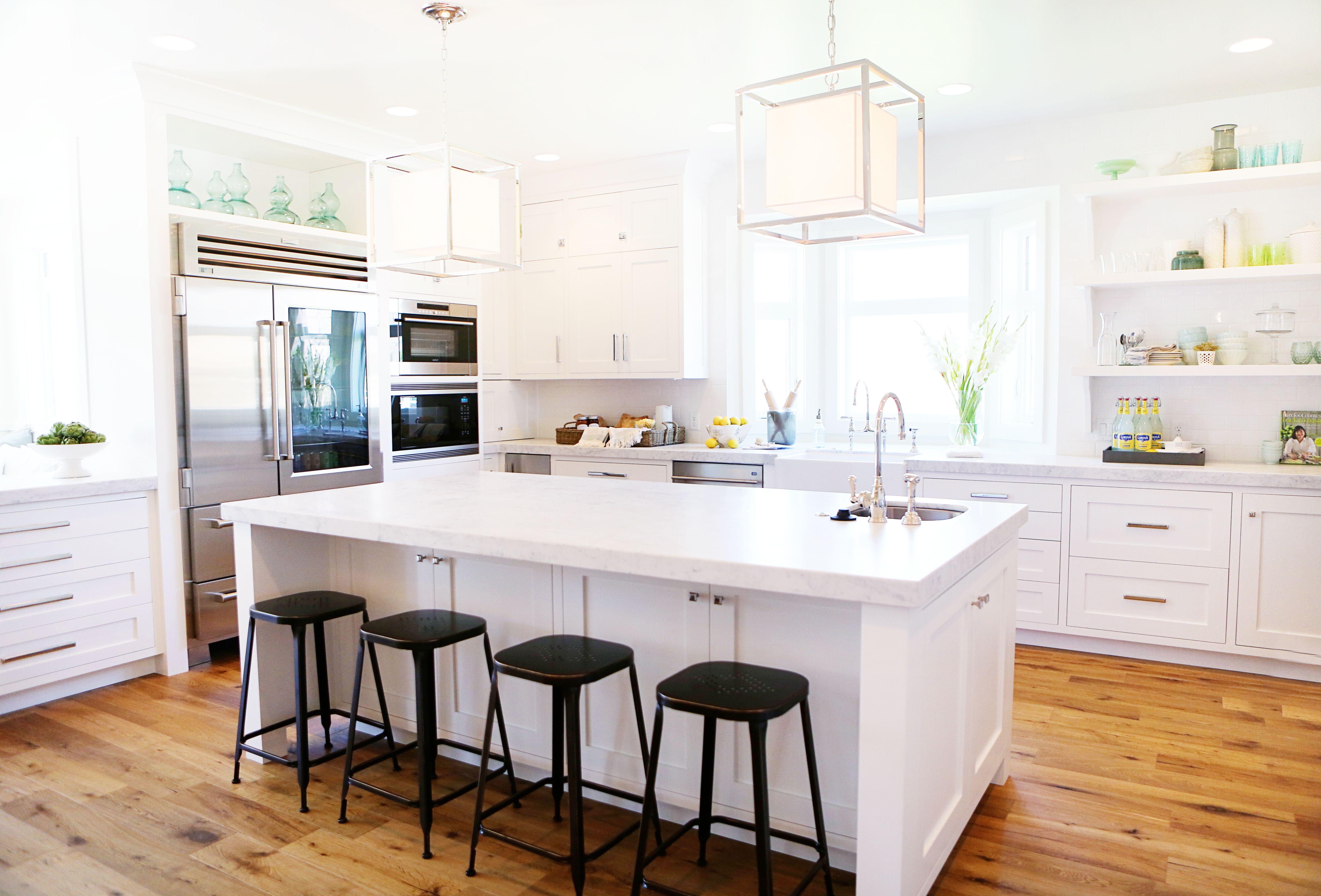 love the fridge White kitchen island, Stools for kitchen