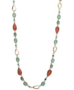 Anne Klein Faceted Stone and Crystal Long Statement Necklace - Gold