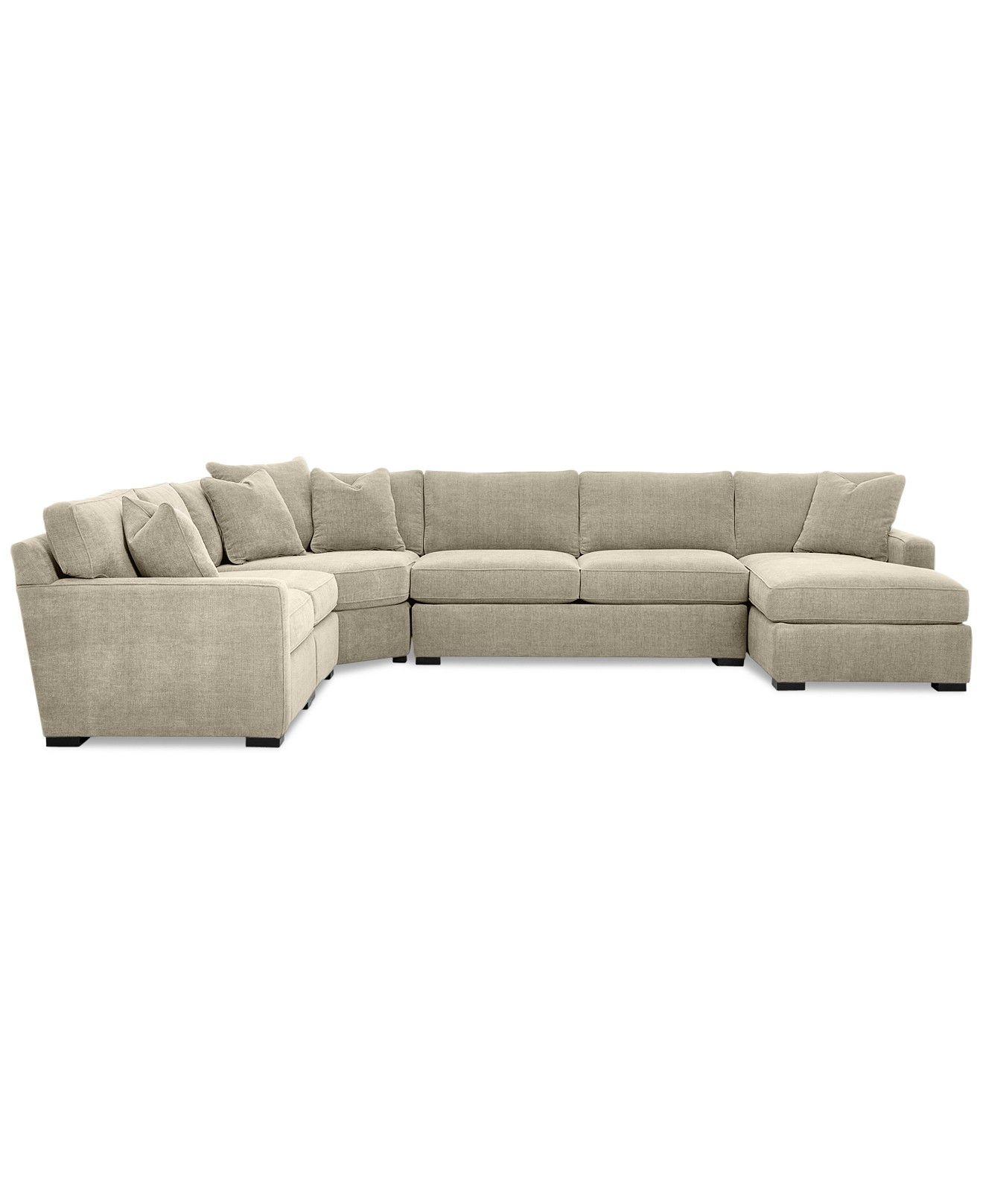 Macys Sectional Sofa Microfiber Rowe Hartford Slipcover Radley 5 Piece Fabric Chaise Created For