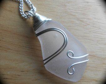 Sea Glass Necklace, Beach Glass Jewelry, Eco Friendly Pendant, UP to SNOW GOOD
