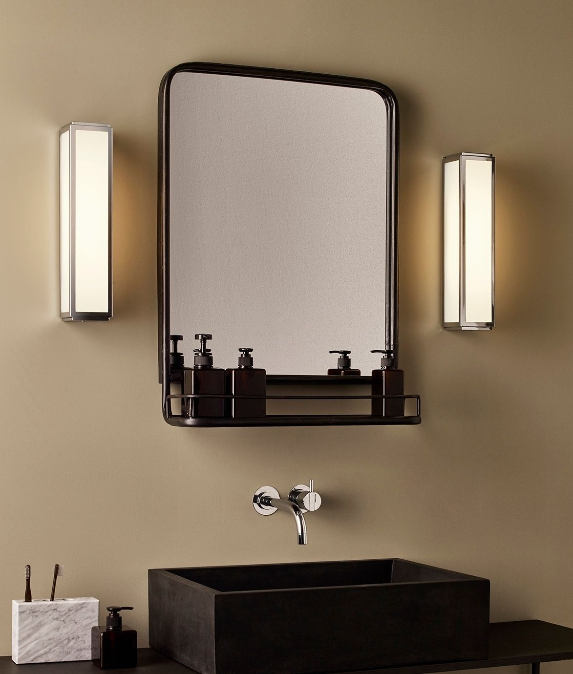 Ip44 Slim Wall Light With Opal Glass For Zones 2 And 3