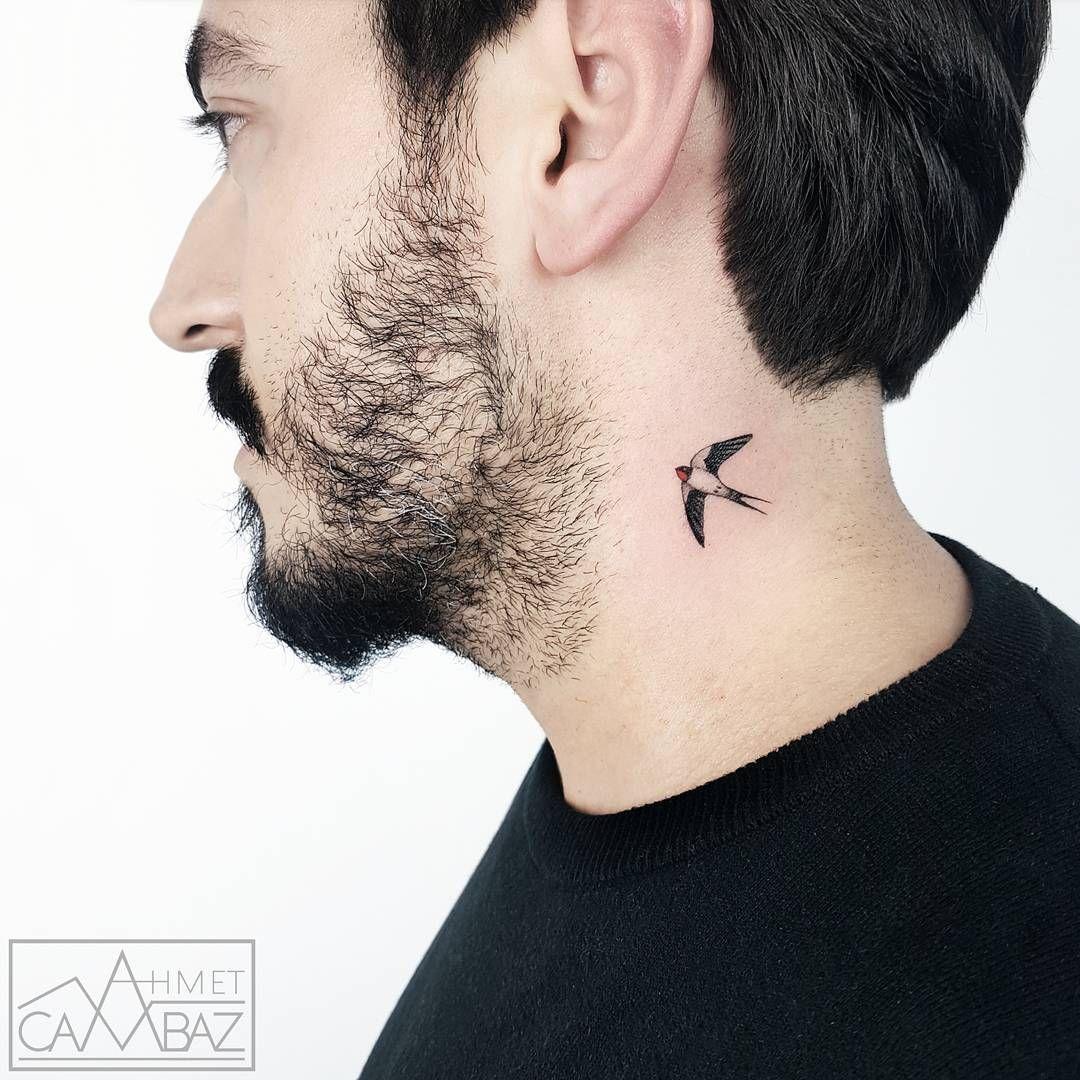 Small Bird Tattoo On Neck By Ahmet Cambaz Tattoosonneck Bird Tattoo Neck Small Neck Tattoos Best Neck Tattoos