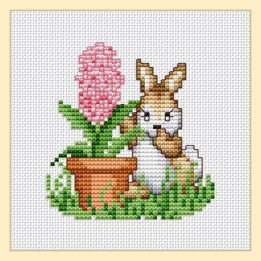 Free rabbit with hyacinth cross stitch pattern by Ellen