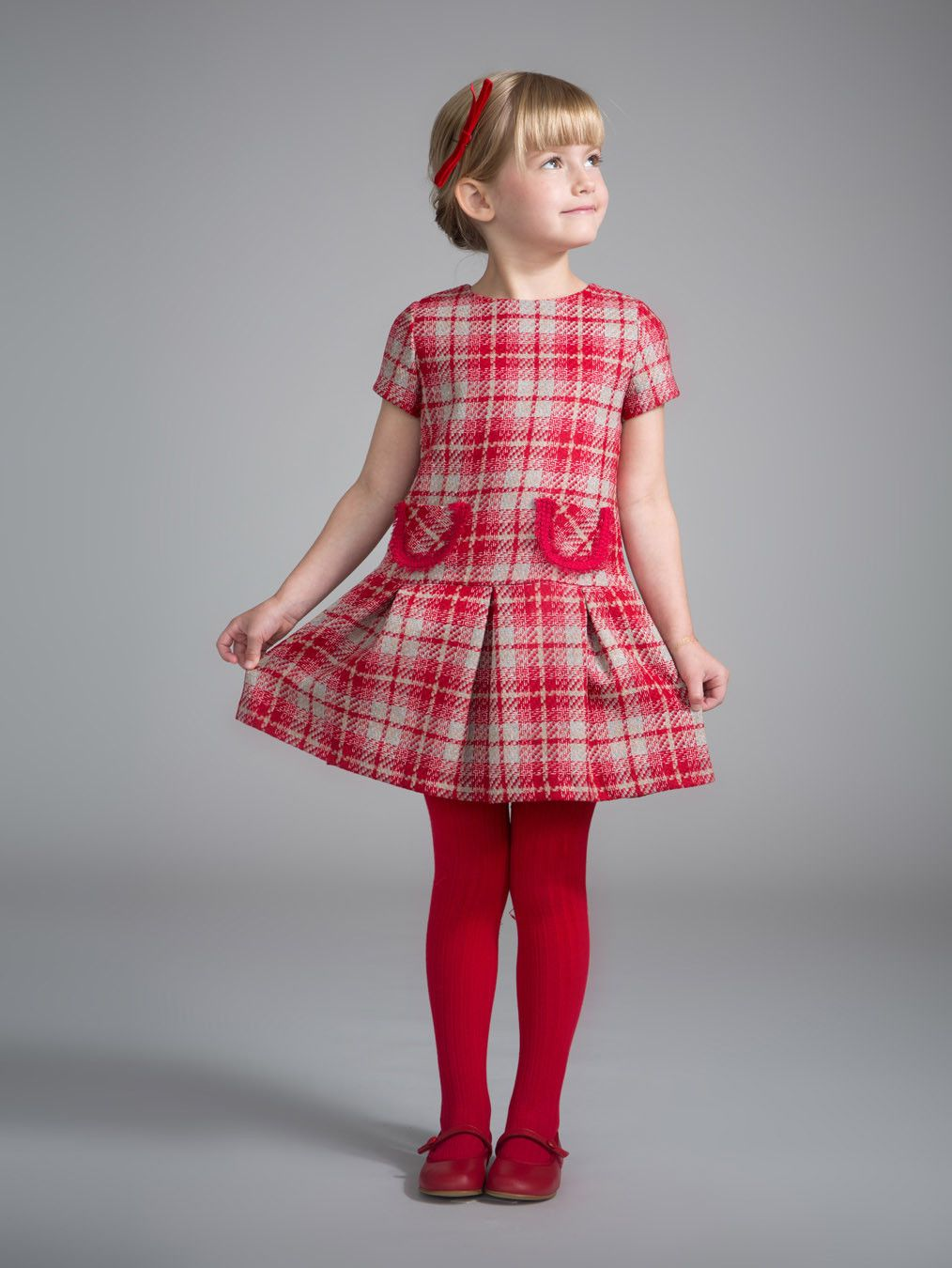 Ruby\'s Ladylike Plaid Outfit Girls\' vermillion red tweed pleated ...