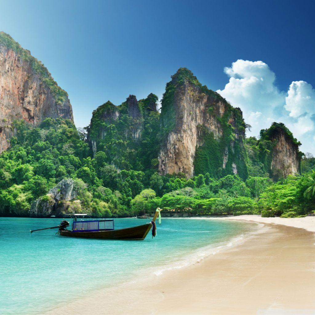 Summer Moutain Seaside Beach Blue Sunny Sky iPad