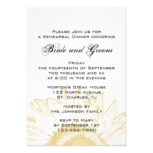 sunflower graphic rehearsal dinner invitation online after you