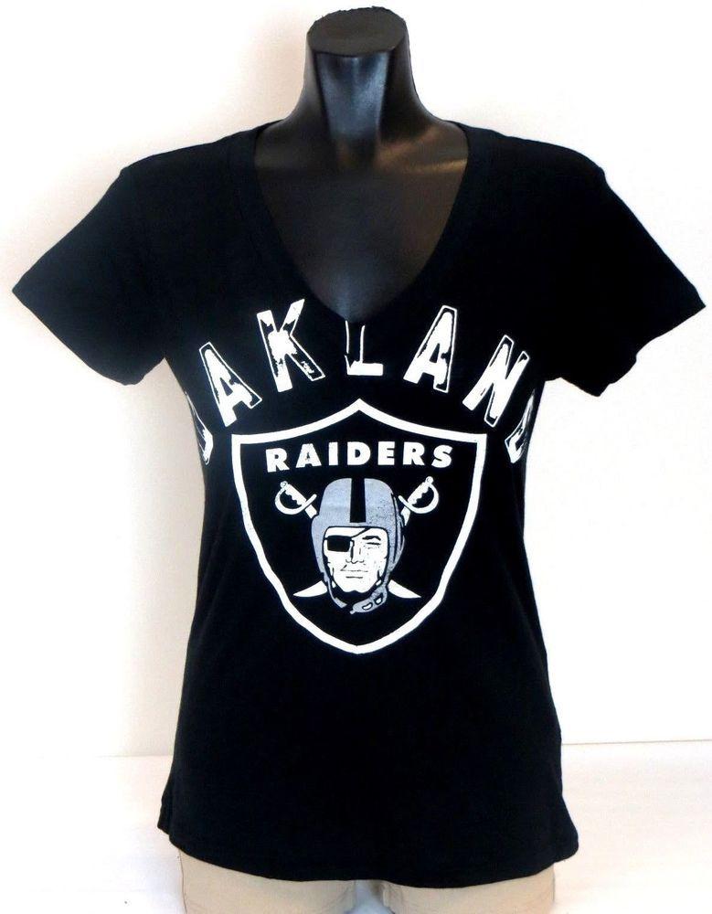 428ac506 NFL Women's Oakland Raiders V Neck LOGO T-Shirt | Sports Clothes ...
