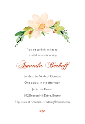 Pink Flower  Free Printable Bridal Shower Invitation Template