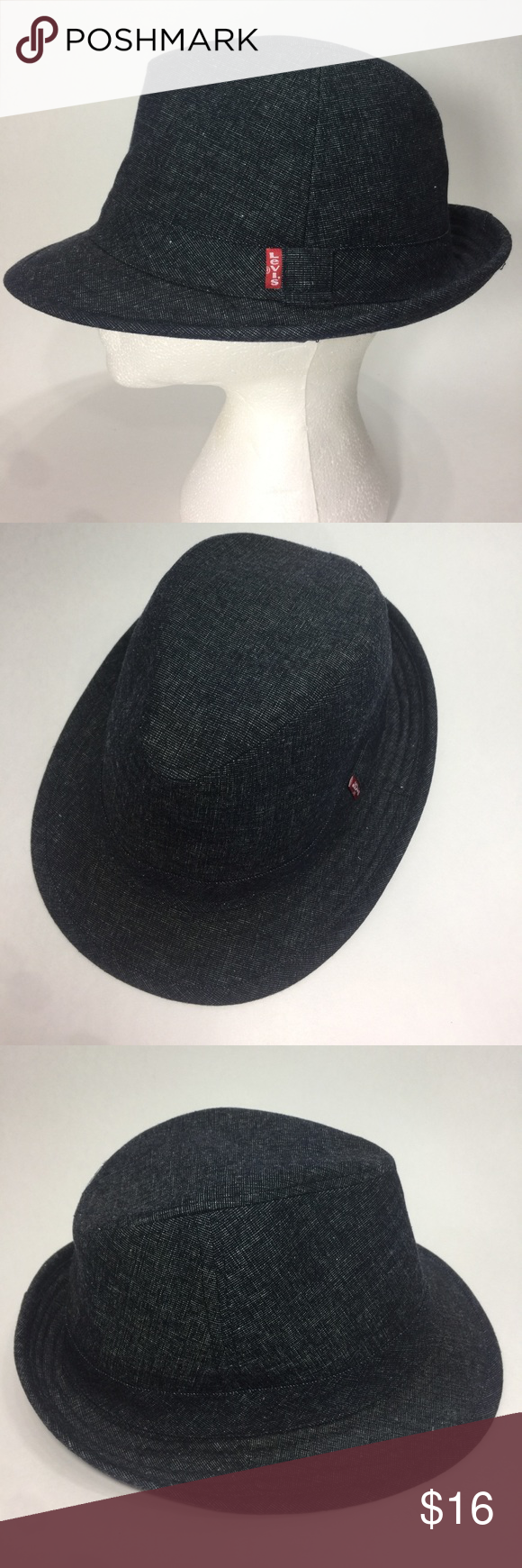 ed0e24abdc80f Levi s Red Tab Denim Fedora Hat Blue Unisex Levi s red tab cotton denim  fedora hat one size unisex. 22-1 4 inches around circumference.