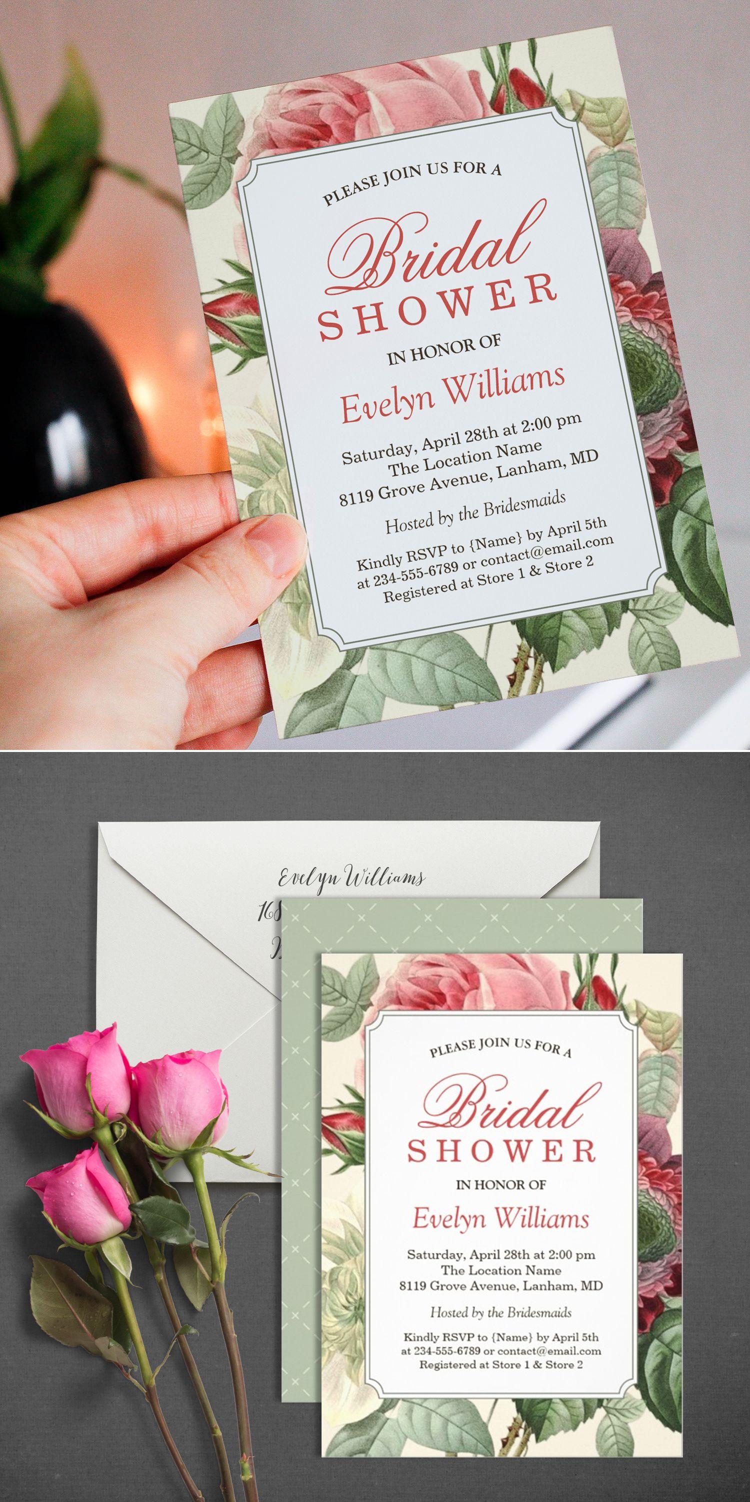 Vintage Botanical Floral Bridal Shower Invitation | Pinterest ...