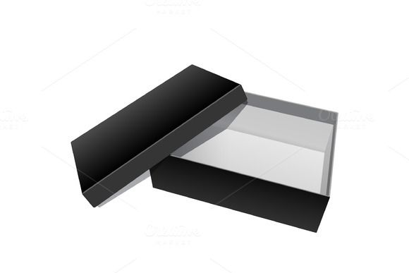 Black blank Cardboard Package Box @creativework247
