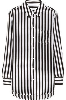 c31306e74c23d Black   White Stripes. Equipment Reese striped washed-silk shirt ...