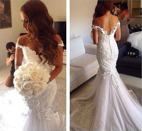 Vestido de novia de sirena de tul de encaje blanco sin espalda  – Boda
