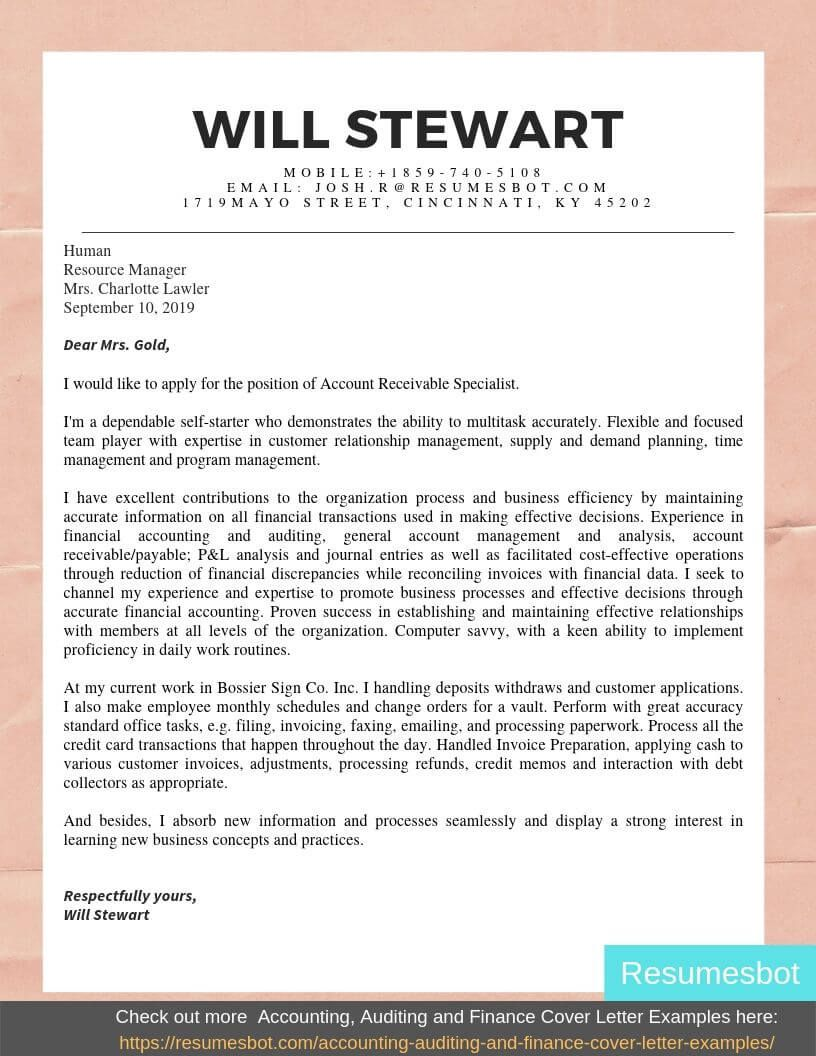 Account Receivable Cover Letter Samples & Templates [PDF