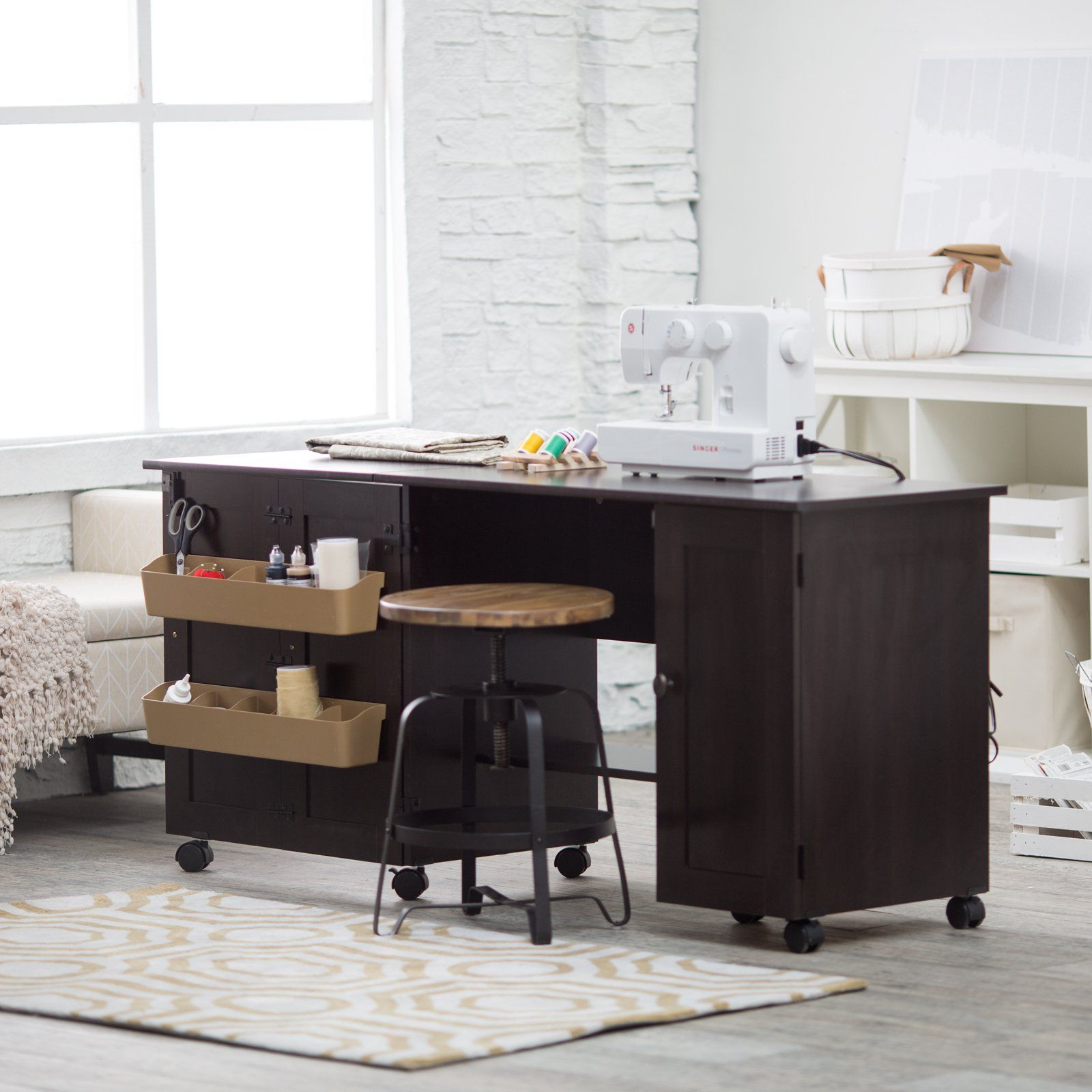 Sauder Sewing Craft Table   Cinnamon Cherry   Sewing Furniture At Hayneedle