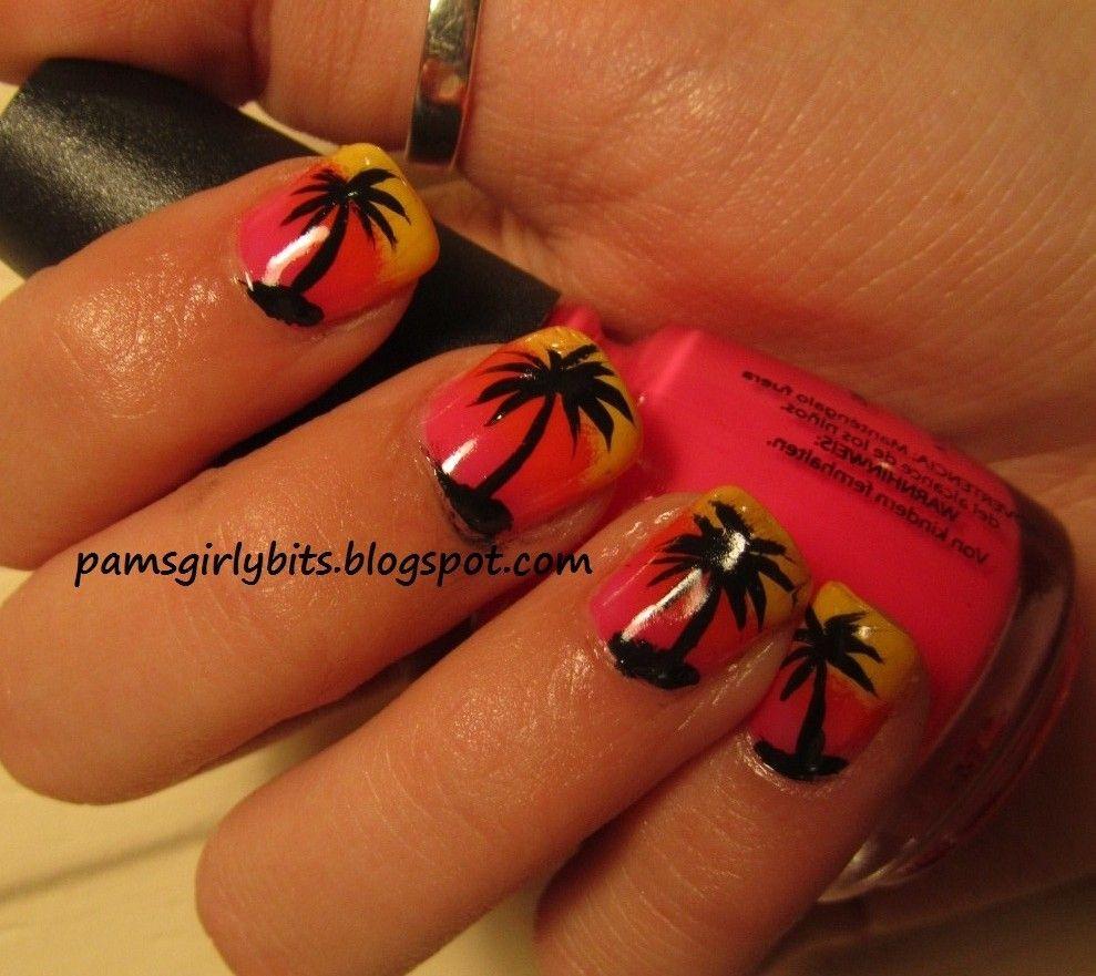 Girly Bits: Tropical Nail Art - Palm Trees | Nail designs | Pinterest